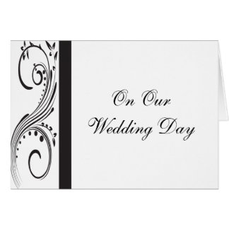 Black and White Swirls Wedding Day Card