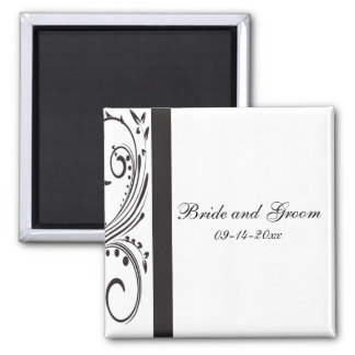 Black and White Swirls Wedding Magnet