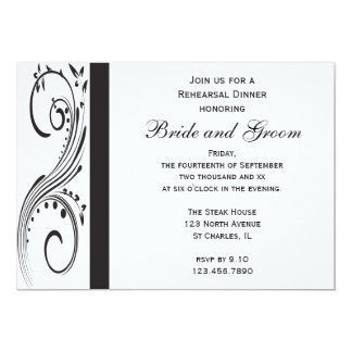 Black and White Swirls Wedding Rehearsal Dinner Card