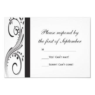 Black and White Swirls Wedding RSVP Response Card