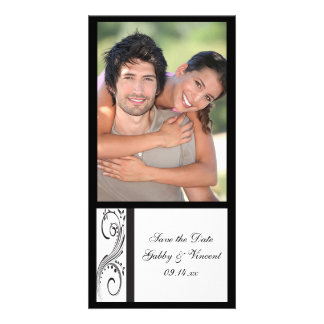 Black and White Swirls Wedding Save the Date Picture Card