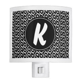 Black and White Swirls with Custom Monogram Night Lite