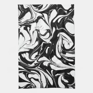 Black And White Swirly Marble Pattern Kitchen Towel