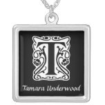Black and White T Monogram Initial Personalized