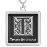 Black and White T Monogram Initial Personalized Pendant