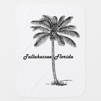 Black and White Tallahassee & Palm design Baby Blanket