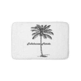 Black and White Tallahassee & Palm design Bath Mat