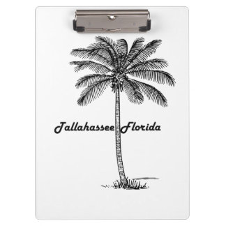 Black and White Tallahassee & Palm design Clipboard