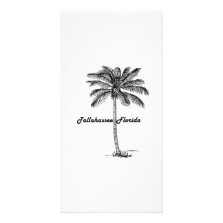 Black and White Tallahassee & Palm design Personalized Photo Card