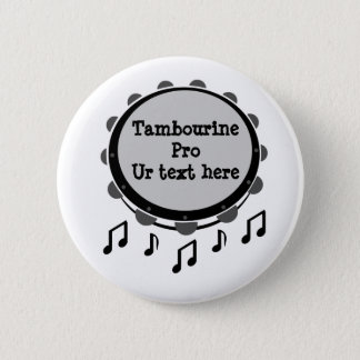 Black and White Tambourine 2 Inch Round Button