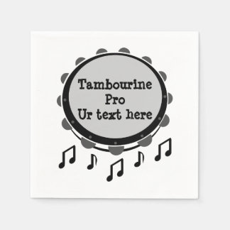 Black and White Tambourine Disposable Napkin