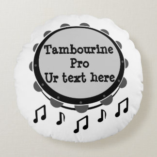 Black and White Tambourine Round Pillow