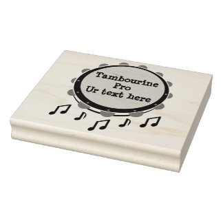 Black and White Tambourine Rubber Stamp