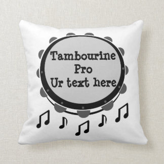 Black and White Tambourine Throw Pillow