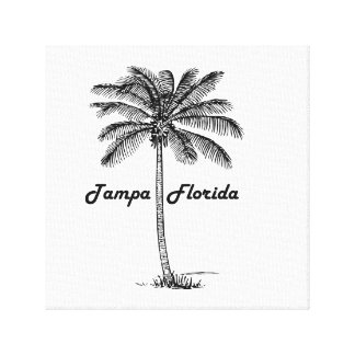 Black and White Tampa & Palm design Canvas Print