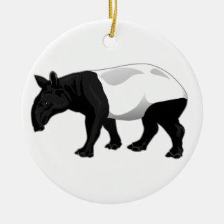Black and White Tapir Round Ceramic Ornament