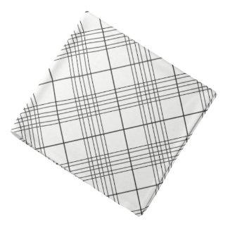Black And White Tartan Plaid Checked Pattern Bandana