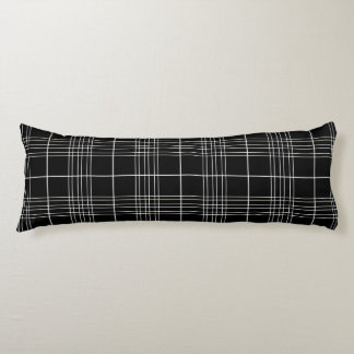 Black And White Tartan Plaid Checked Pattern Body Pillow