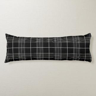 Black And White Tartan Plaid Checked Pattern Body Pillow