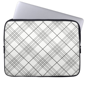 Black And White Tartan Plaid Checked Pattern Laptop Sleeve