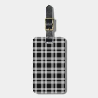 Black And White Tartan Plaid Checked Pattern Luggage Tag