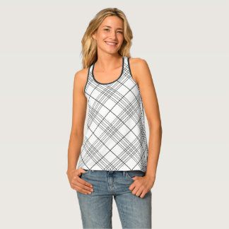 Black And White Tartan Plaid Checked Pattern Tank Top
