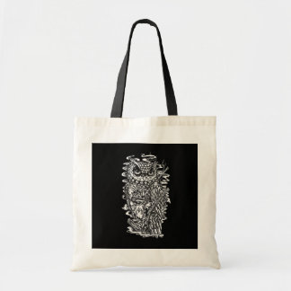 Black and white tattoo style owl illustration. tote bag