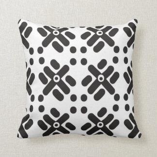 """Black and White """"Teku"""" Print Throw Pillow"""