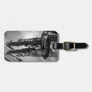Black and White Tenor Saxophone Luggage Tag