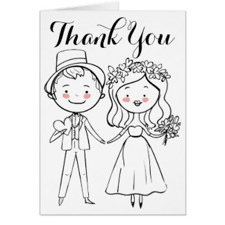 Black And White Thank You Bride & Groom Wedding Card