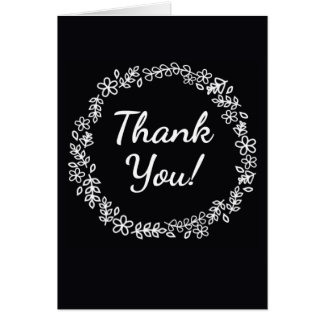Black and White Thank You card with Wreath