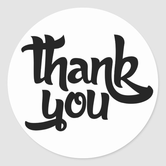 Black And White Thank You Classic Round Sticker