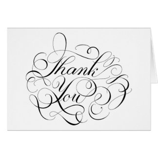 Black And White Thank You Floral Swirls Calligraph Card
