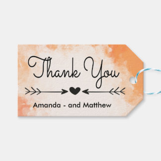 Black And White Thank You Heart Wedding Gift Tags