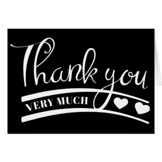 Black and White Thank You Heart Wedding Party Card