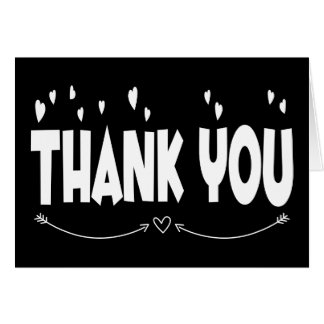 Black and White Thank You Hearts Wedding Card