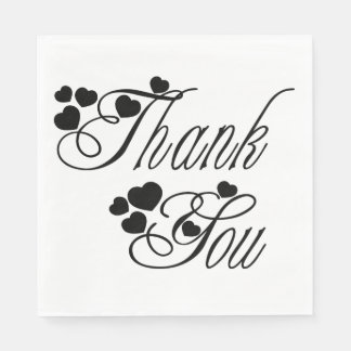Black And White Thank You Hearts - Wedding Party Disposable Napkin