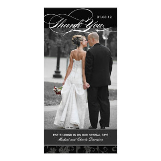 Black and White Thank You Photo Card 4x8