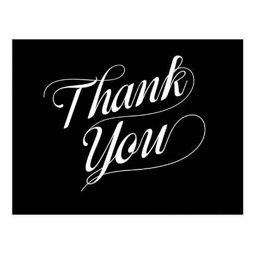 Black and White Thank You Postcard