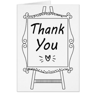 Black and  White Thank You Sign Wedding Party Card