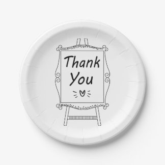 Black And White Thank You Wedding Party Paper Plate