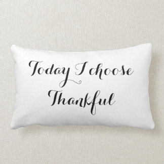 Black and White  Thankful Lumbar Pillow