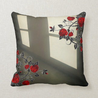 Black and white Throw Pillow with red roses.