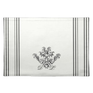 Black and White Ticking Stripes Placemat