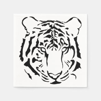 Black and White Tiger Cocktail Napkins Disposable Napkins
