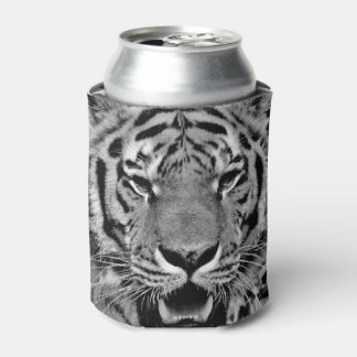 Black and White Tiger Face Can Cooler