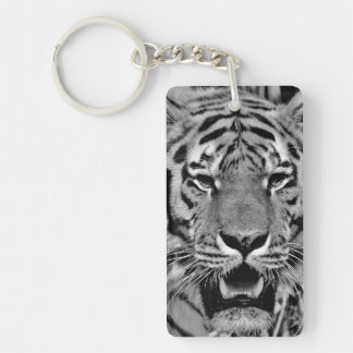 Black and White Tiger Face Keychain