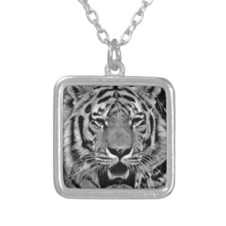 Black and White Tiger Face Silver Plated Necklace