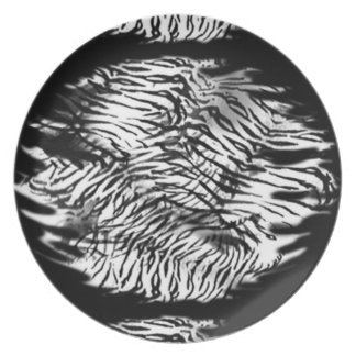 black and white tiger skin plater dinner plates