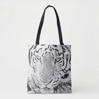 Black and White Tiger Tote Bag